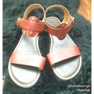 Boutique studded sandals ankle strap tan 8